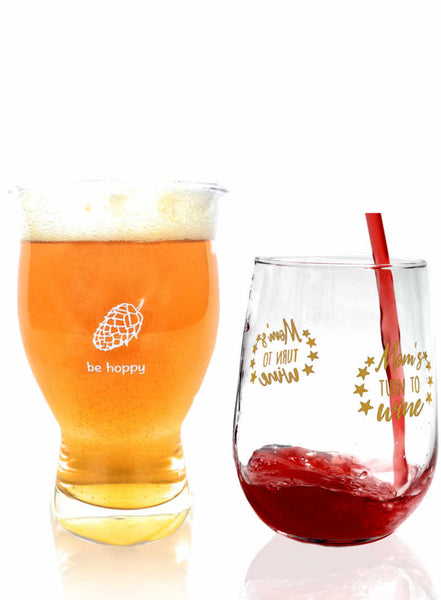 Be Hoppy Beer and Mom's Turn to Wine Glass Combo