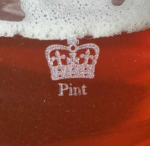 Close up of Laser Engraving on the British Imperial Pint