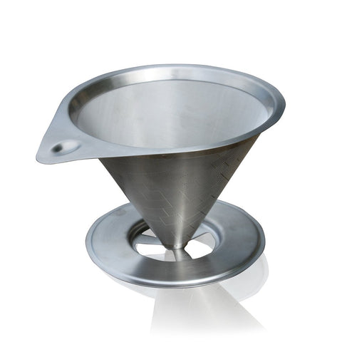 Pour Over Stainless Steel Coffee Filter With Base - Paperless & Reusable