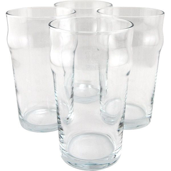 4 Pack stackable British Imperial Pints 20oz Capacity