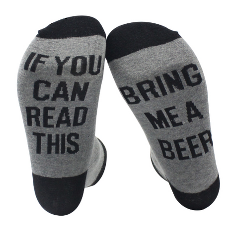 Beer Lover Socks - If you can read this bring me a beer - Great Gift!