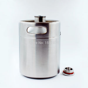 2L/64OZ - 304 Stainless Steel Growler Mini Beer Keg - Blocks light to protect beer.