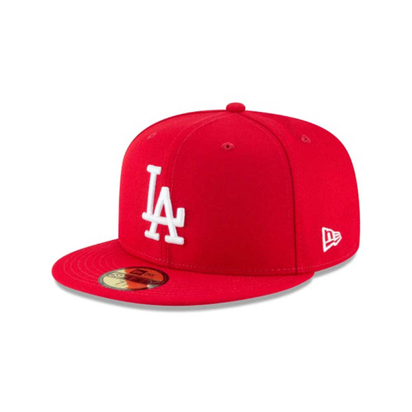 New Era 59Fifty Los Angeles Dodgers Scarlet Basic Men's Fitted Hat Red