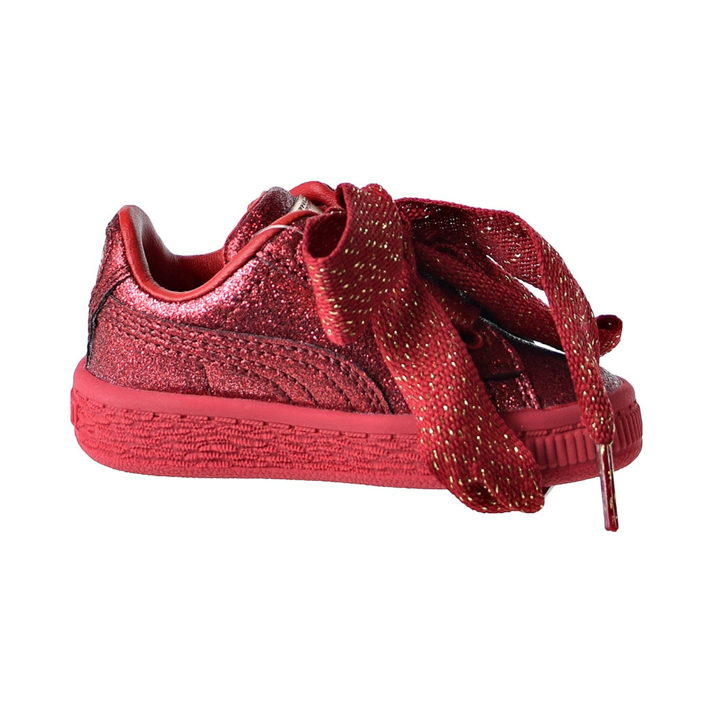 Puma Basket Heart Holiday Glamour Toddler's Shoes Ribbon Red/Rose Gold