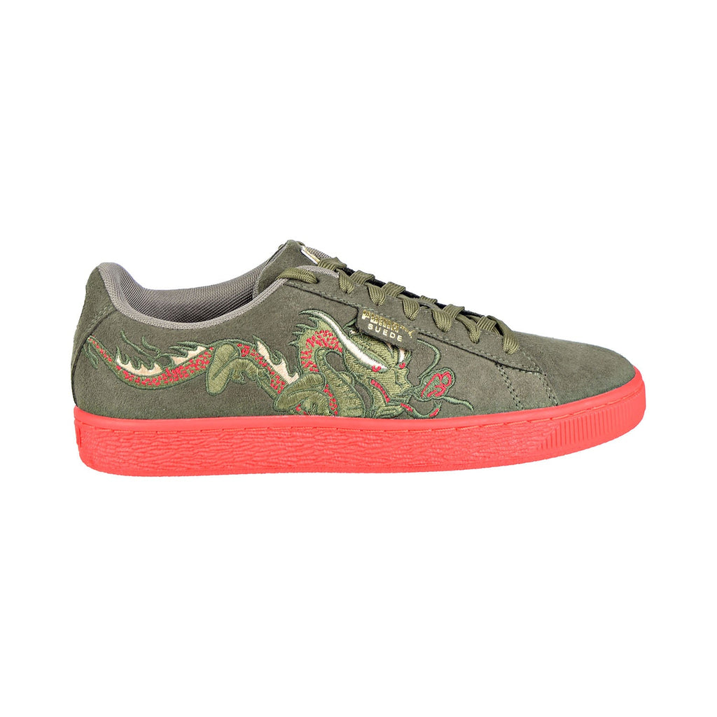 Puma Court Classic Dragon Patch Men's Shoes Burnt Olive/High Risk Red