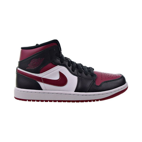 Air Jordan 1 Mid Men's Shoes Black-Noble Red-White Noir