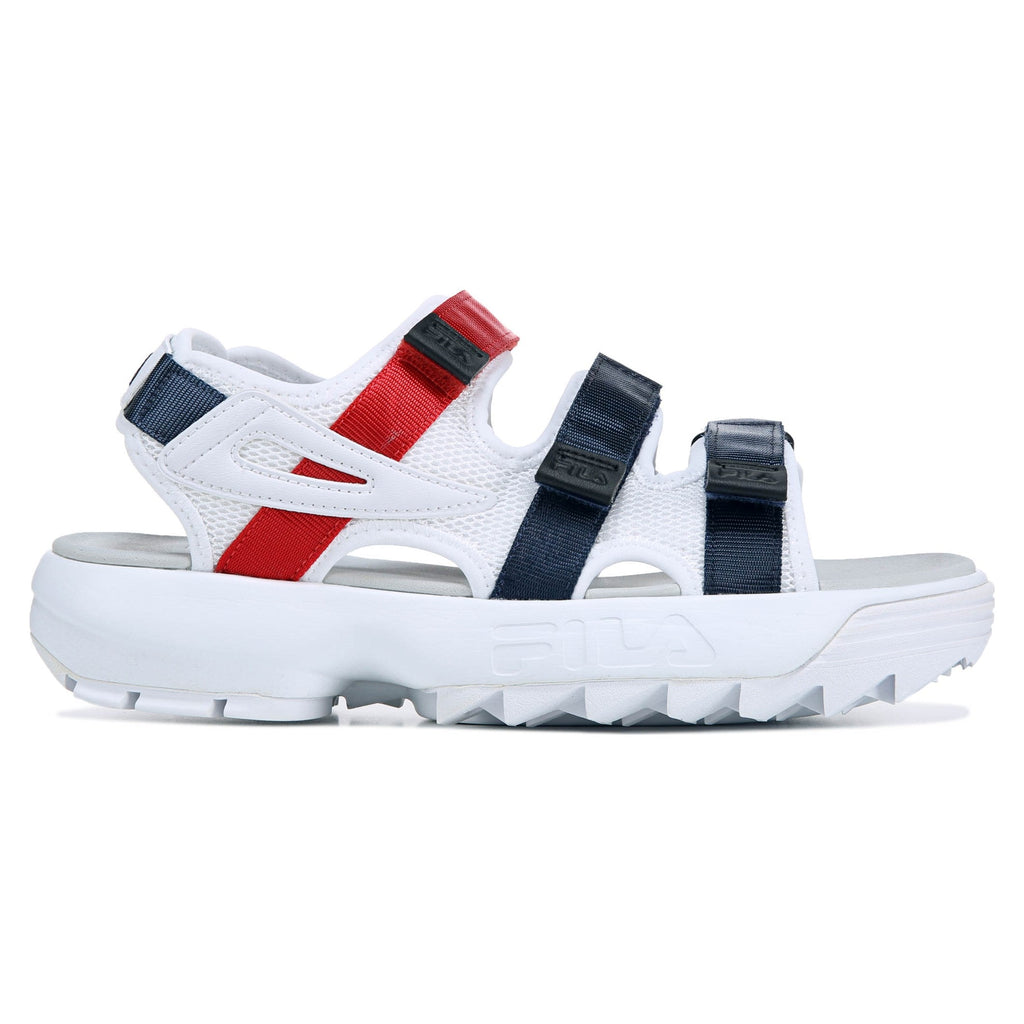 Womens Fila Disruptor Sandals White/Navy/Red