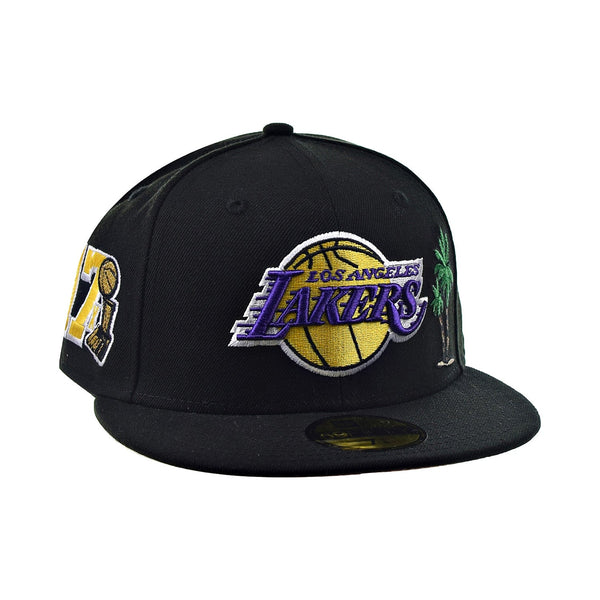New Era 59Fifty Los Angeles Lakers 17x Pink Bottom Men's Fitted Hat Black