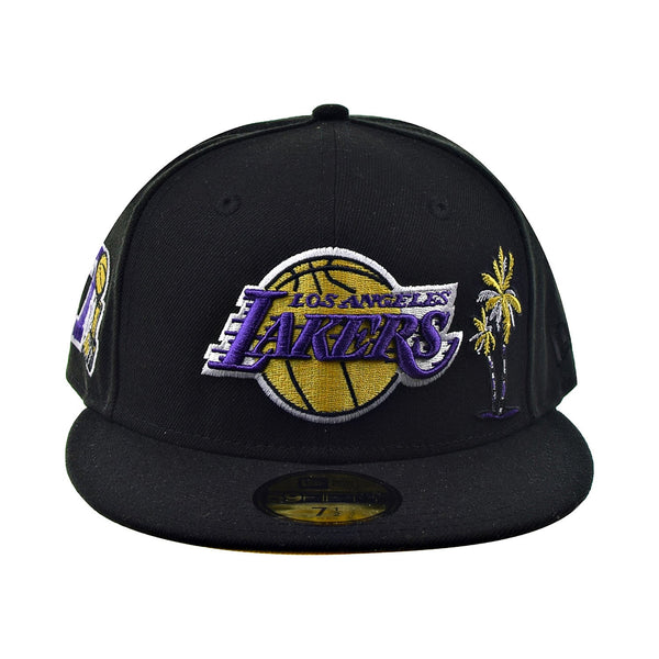 New Era 59Fifty Los Angeles Lakers Yellow Bottom Men's Fitted Hat Black