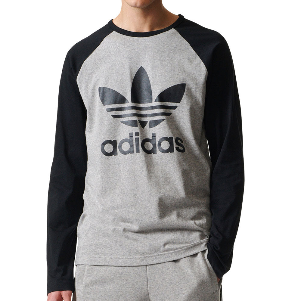 Adidas Originals Trefoil Men's Long Sleeve T-Shirt Medium Grey Heather/Black