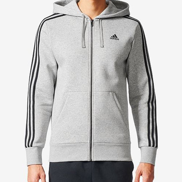 Adidas 3- Stripes Men's Big And Tall Essential Hoodie Medium Grey Heather/Black