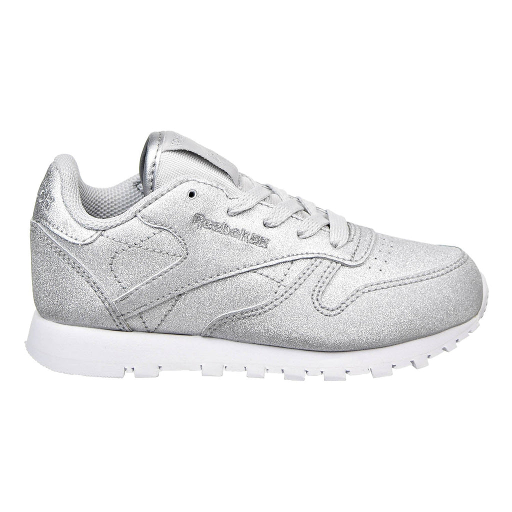 Reebok Classic Leather SYN Little kids Shoes Silver Met/Snow Grey/White
