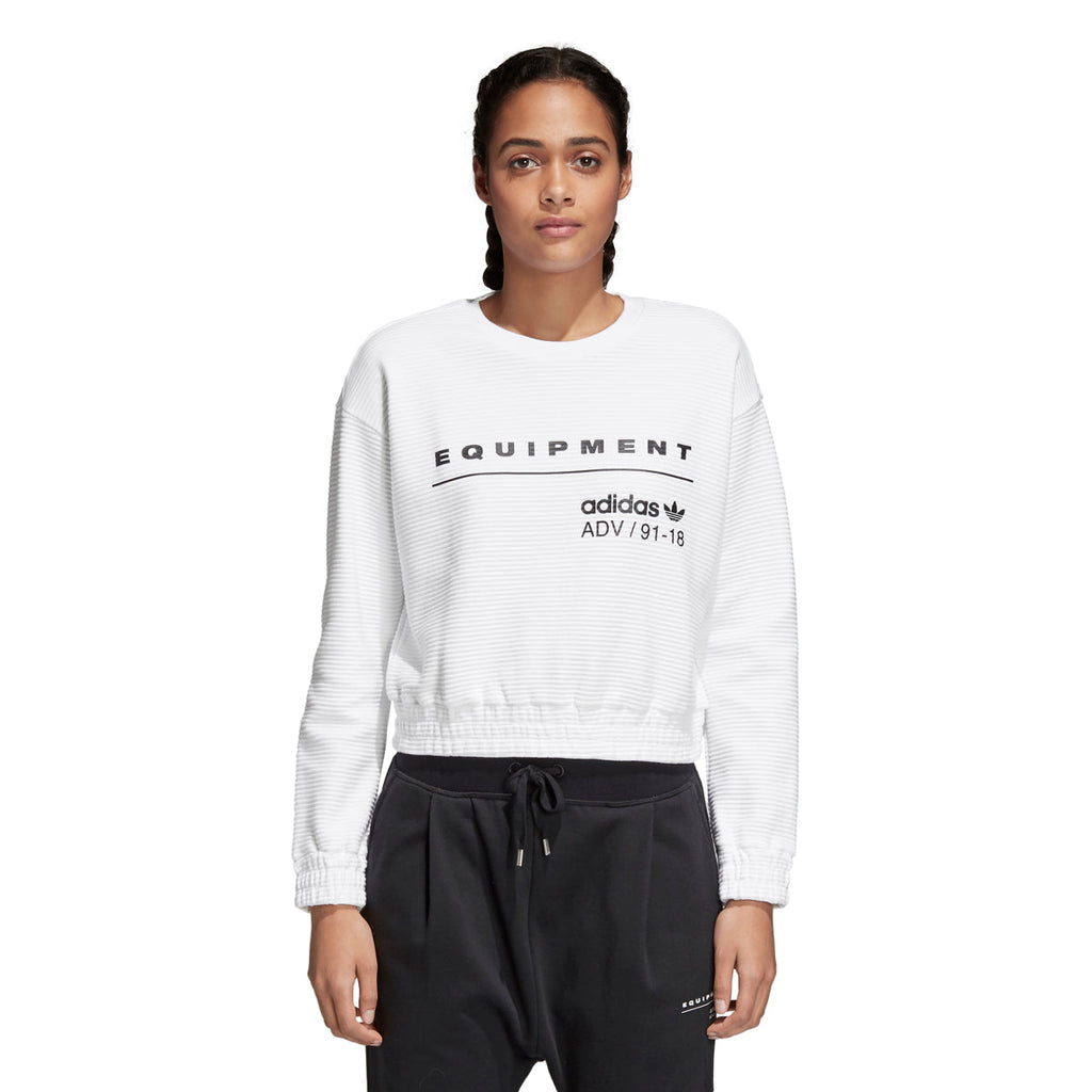 Adidas Women's Originals EQT Crew Cropped Sweatshirt White