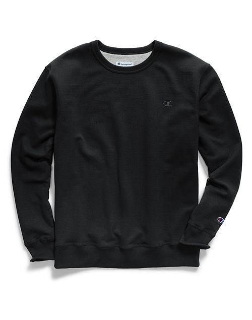 Champion Men's Powerblend Pullover Crew Sweatshirt Black
