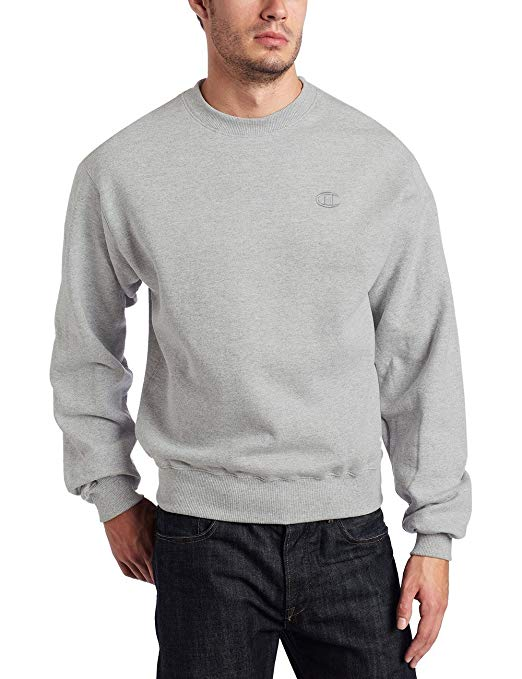 Champion Men's Pullover Eco Fleece Crew Sweatshirt Grey