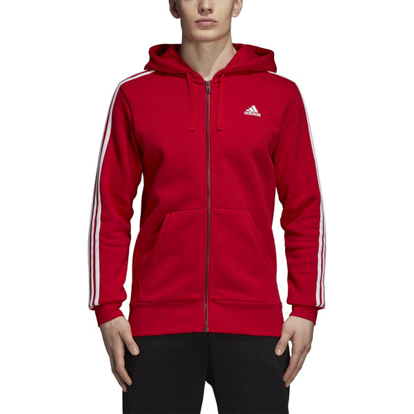 Adidas Men's Essentials 3-Stripes Fleece Full-Zip Hoodie Scarlet/White