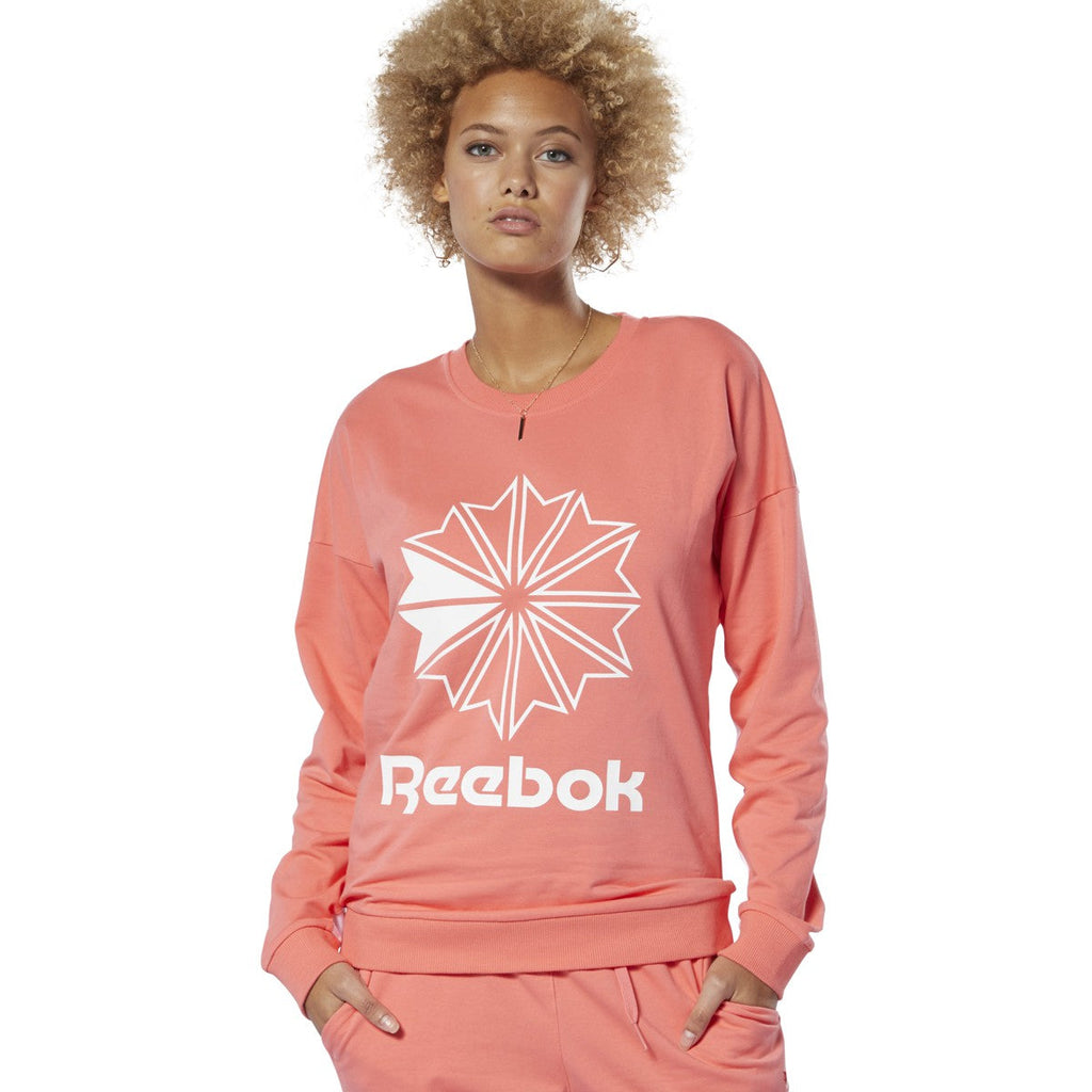 Reebok Women Classics French Terry Big Logo Crew Sweatshirt Bright Rose
