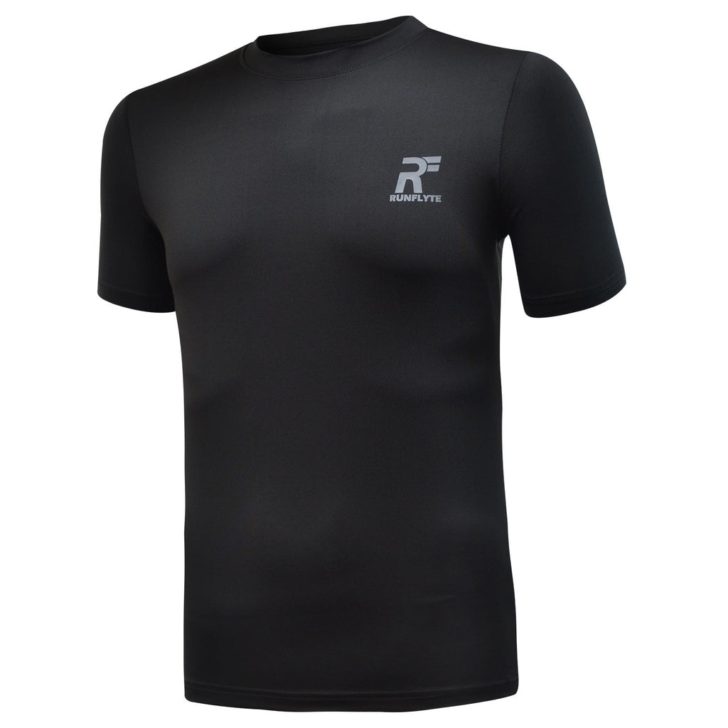 RunFlyte Men's Basics Short Sleeve Moisture-Wicking T-Shirt Black/Dark Grey
