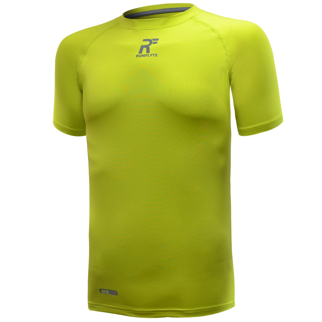 RunFlyte Men's Contour Stitch Short Sleeve Compression T-Shirt Neon Green/Grey