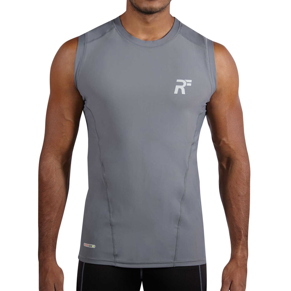 RunFlyte Men's Tech Flyte Compression Tank Top  Charcoal Grey