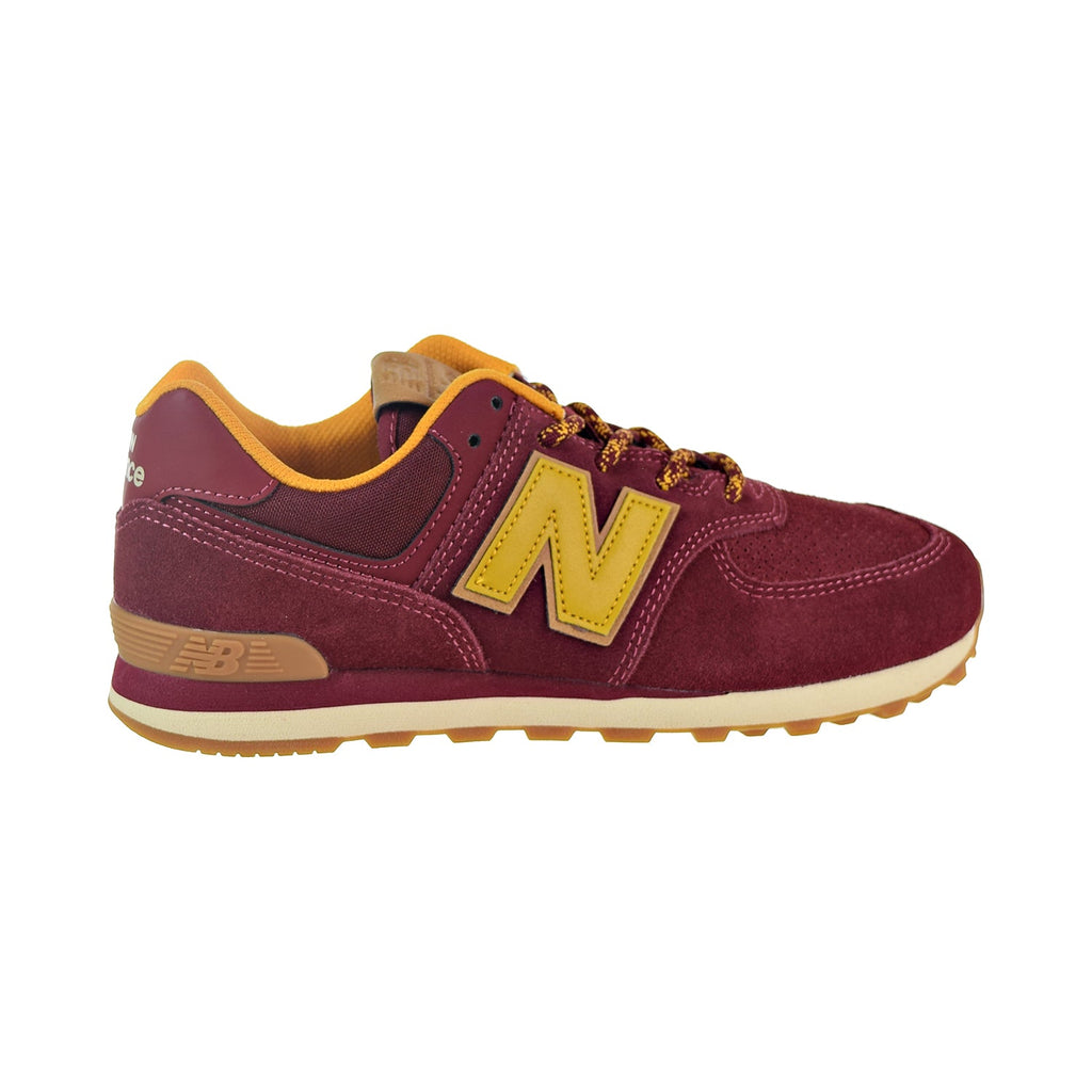 New Balance 574 Suede Big Kids' Shoes Mercury Red/Gold Rush