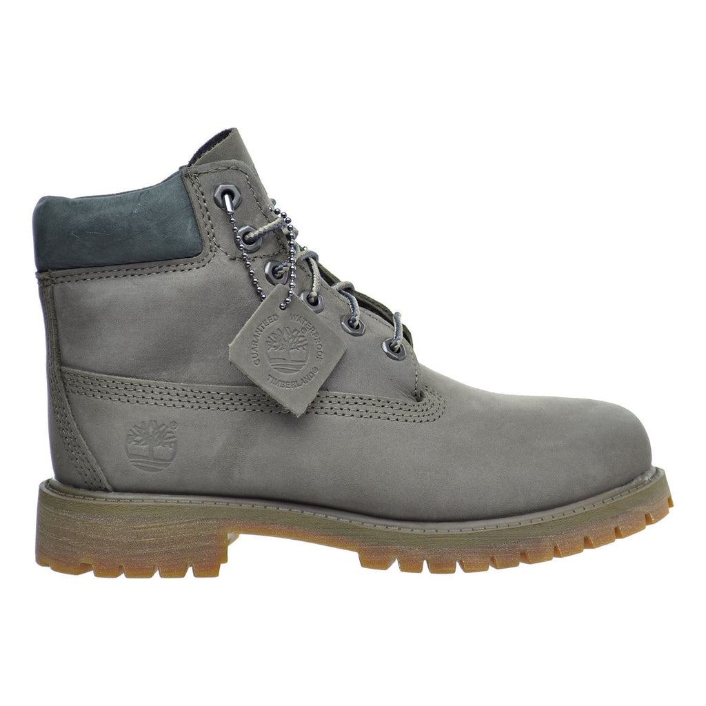 Timberland 6 Inch Premium Waterproof  Little Kid's Boots Dark Grey Nubuck/Brown