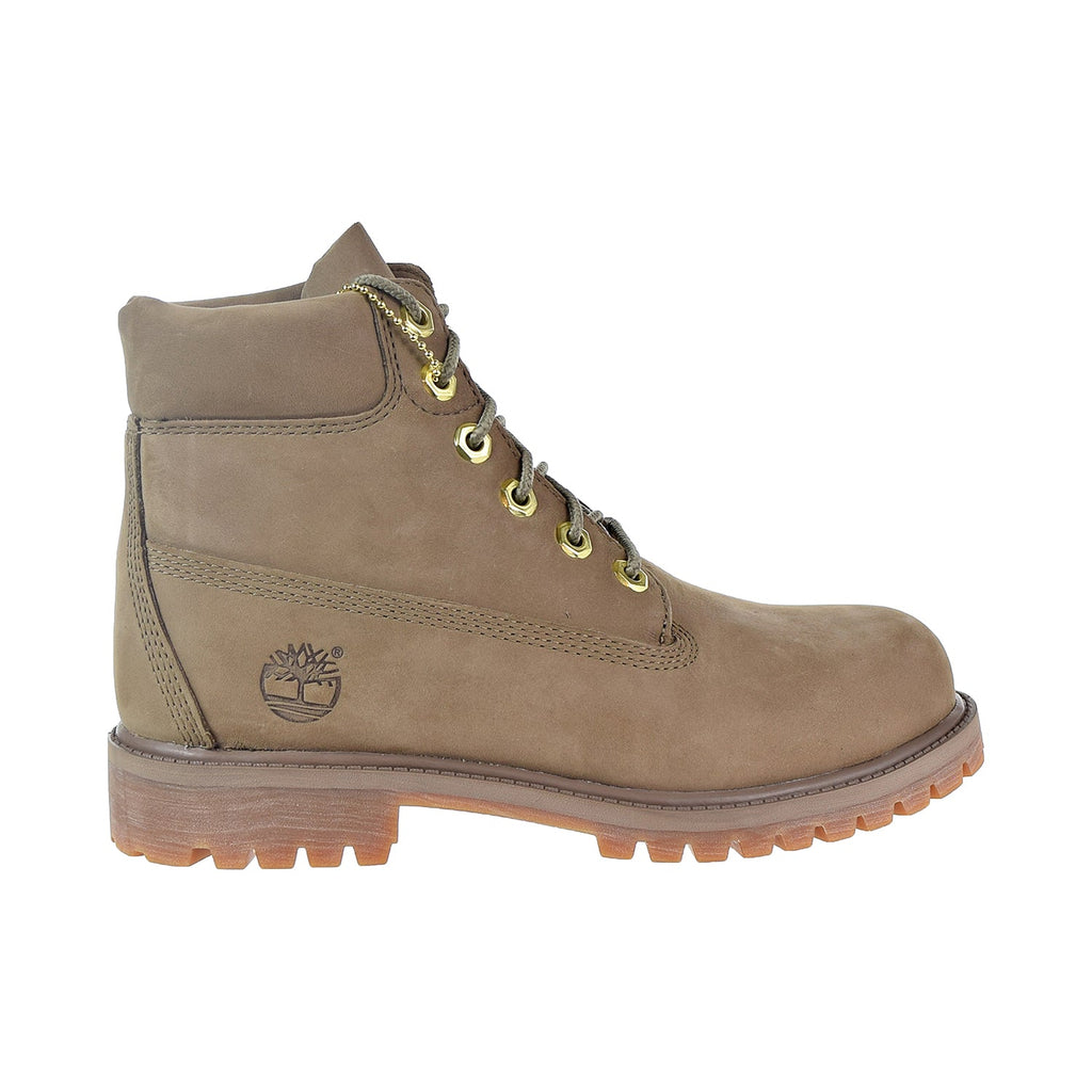 Timberland Premium 6 Inch Waterproof Boot Big kids' Shoes Dark Beige Nubuck