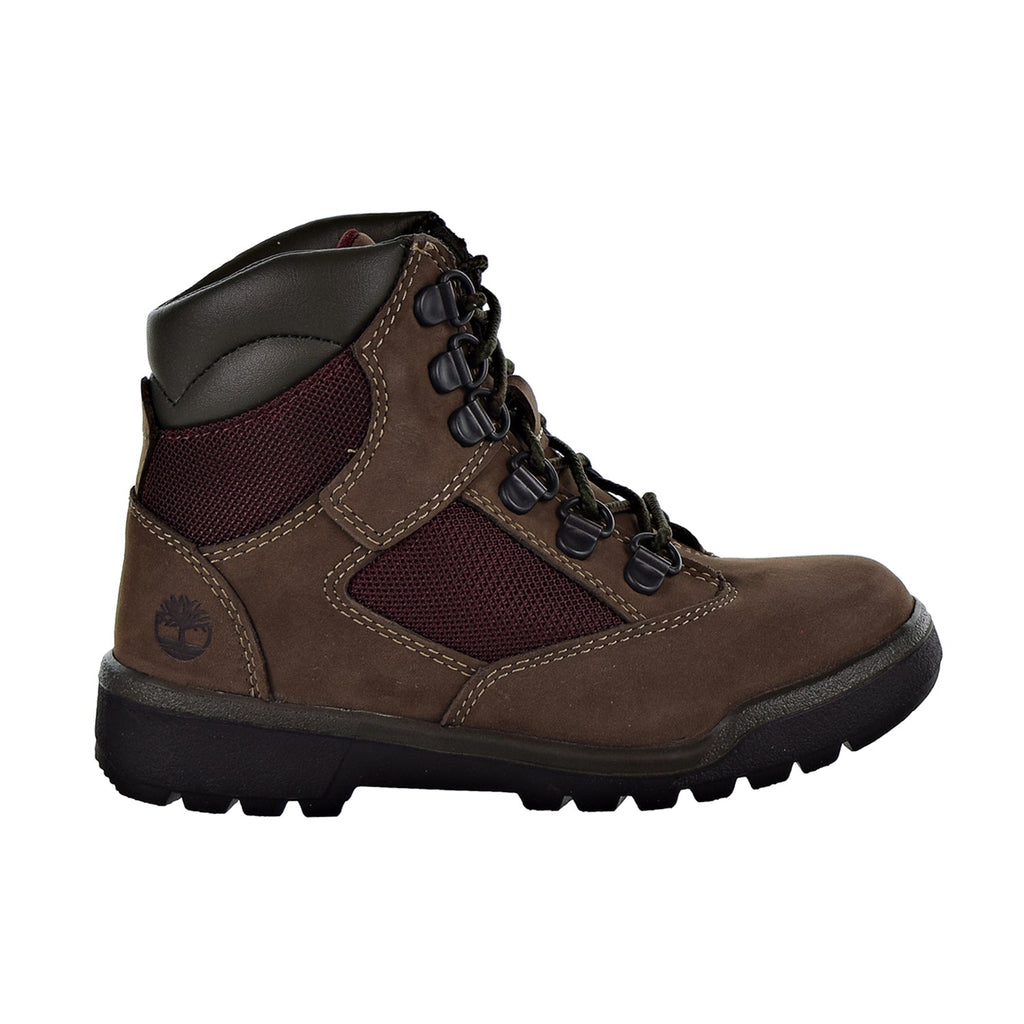 "Timberland 6"" Field Boot L/F Little Kids' Shoes Dark Brown Nubuck"