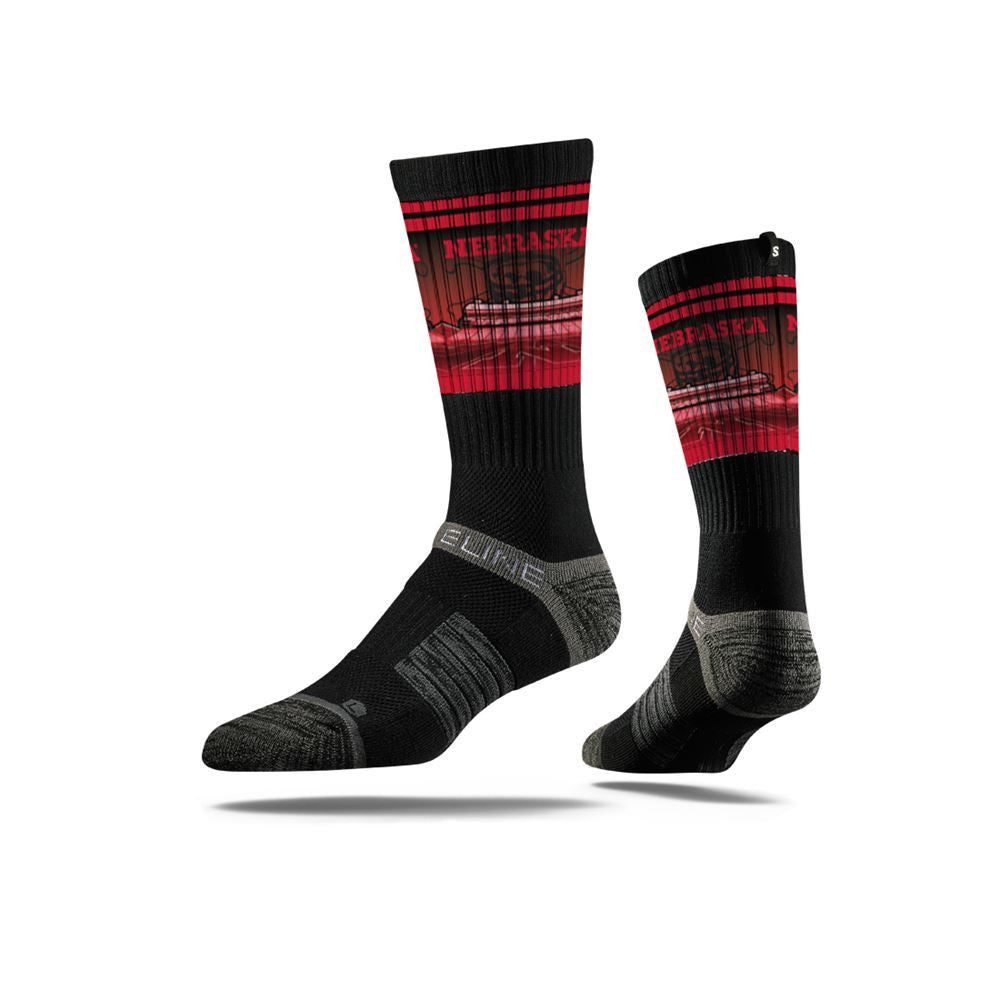 Nebraska Sock Black Huskers Crew Premium Reg Full Photo