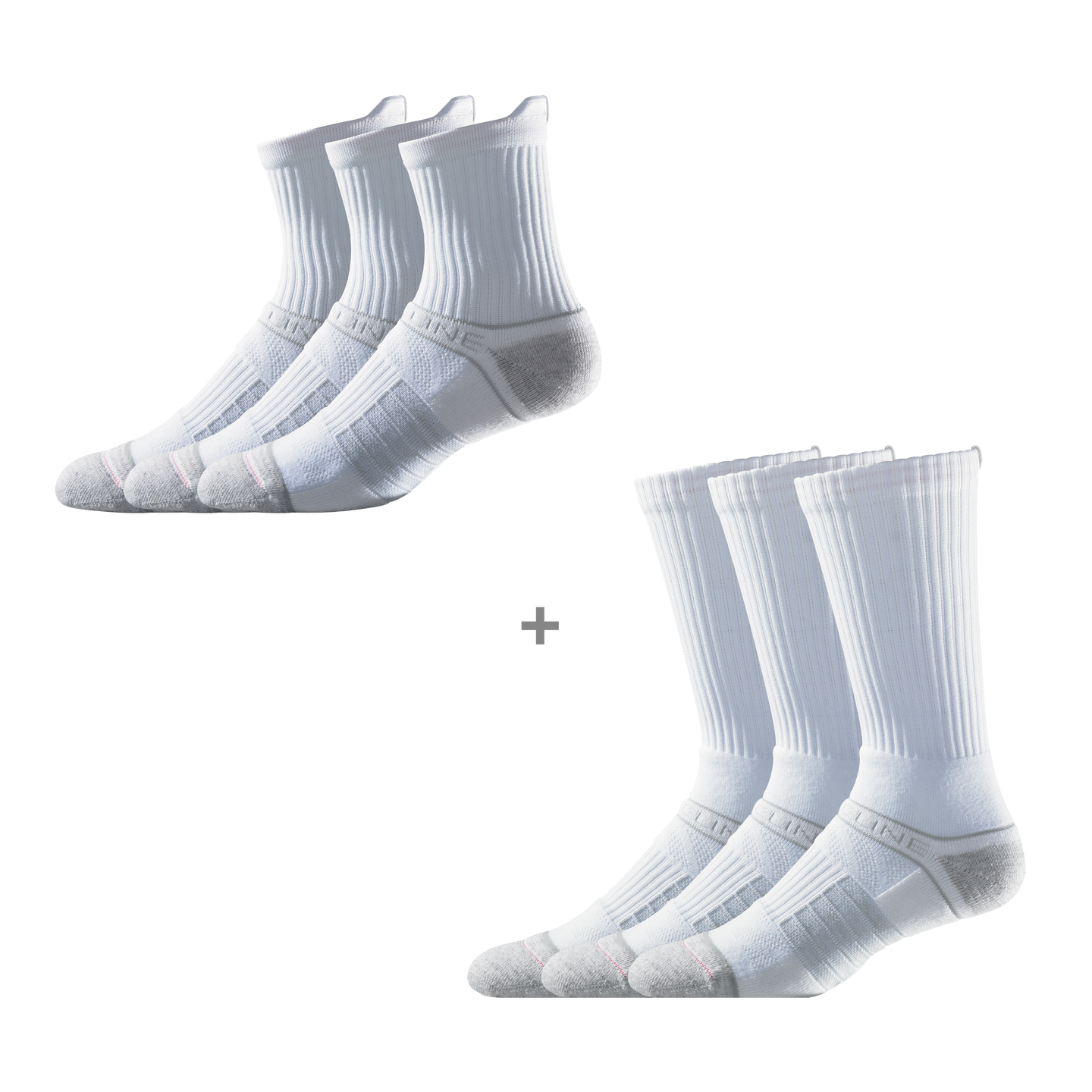 Men's White Mid & Crew Bundle (6 Pairs)