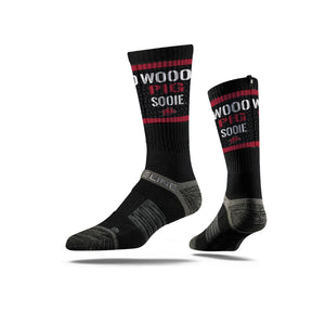 Arkansas Razorbacks Woo Pig Sooie Black Crew Socks