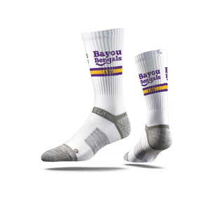 "LSU Tigers ""Bayou Bengels"" White Socks"