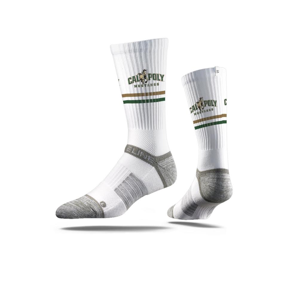 California Polytechnic University Mustangs White Crew Socks
