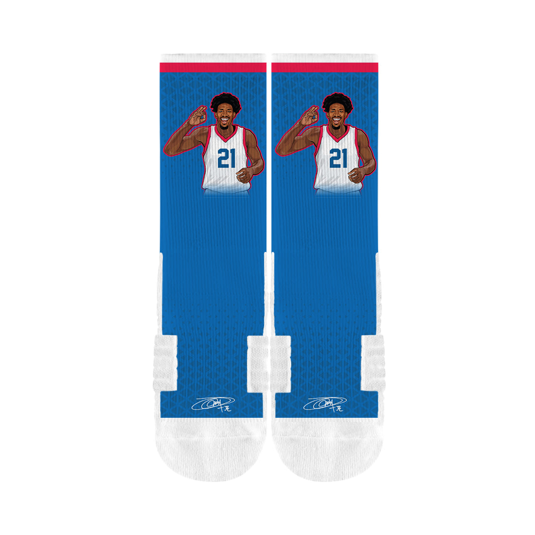 Joel Embiid For Three Blue Socks