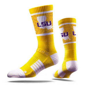 LSU Tiger State Yellow Crew Socks