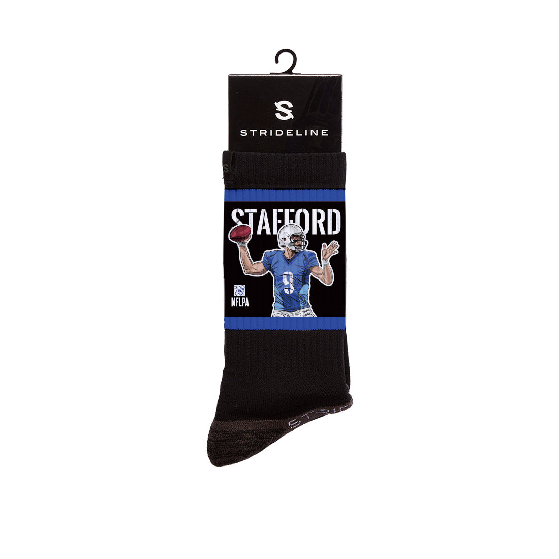 Matthew Stafford Goes Deep Black Crew Socks