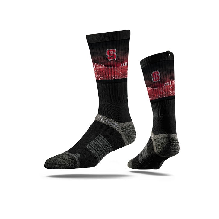 North Carolina State University Wolfpack Black Stadium Crew Socks