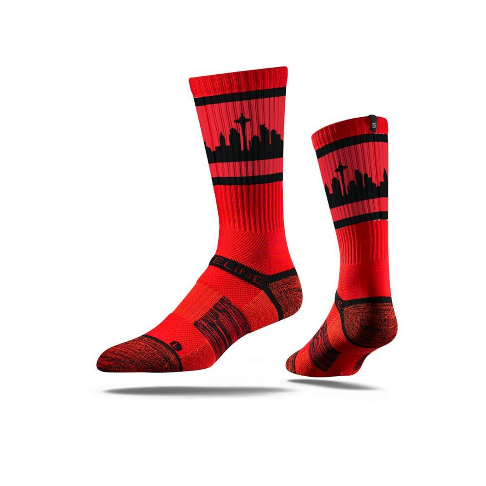 Seattle City Skyline Retro Black/Red Full Photo