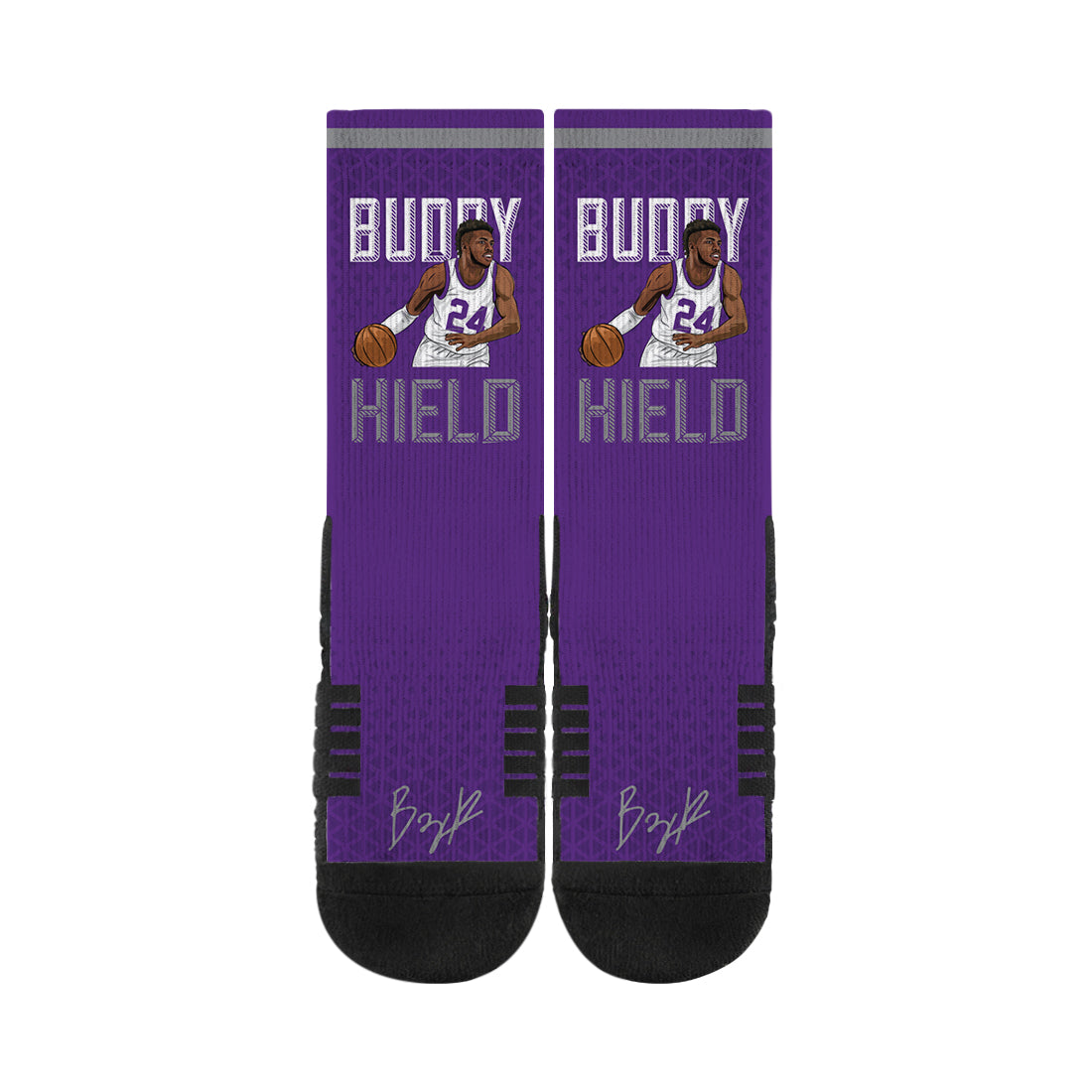 Buddy Hield Drive Purple Black Socks