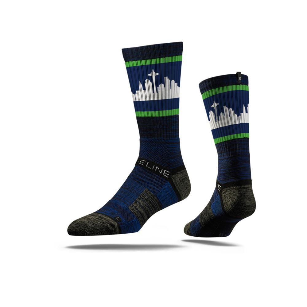 Seattle City Skyline Retro Navy Full Photo