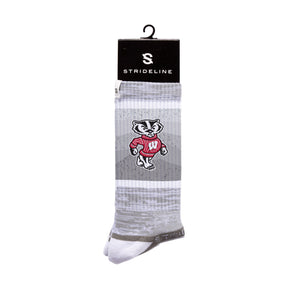 Wisconsin Badgers Wavy Grey Crew Socks