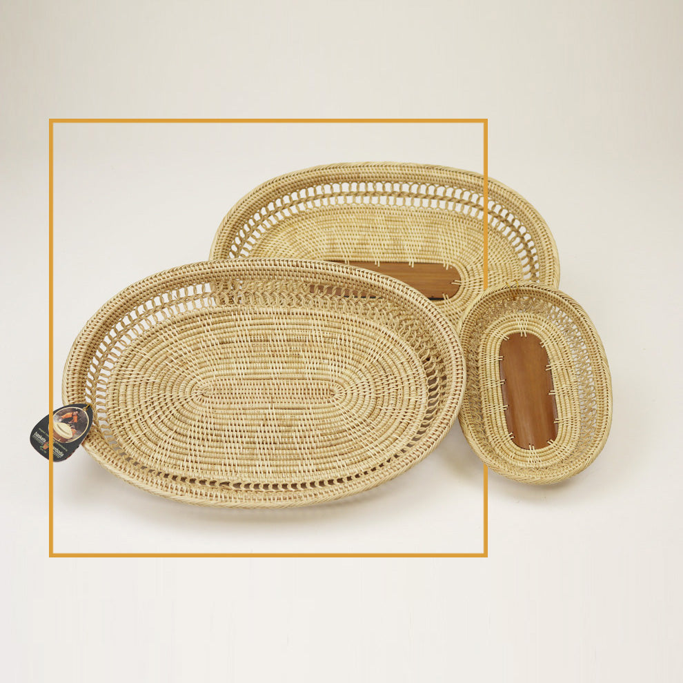 3-1W TRAY W/ Palm Leaf Center - Large