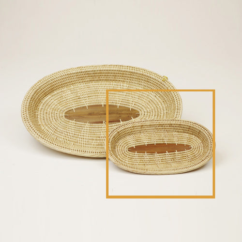 3-3WMini TRAY Solid Weave with Palm Leaf Center - Mini