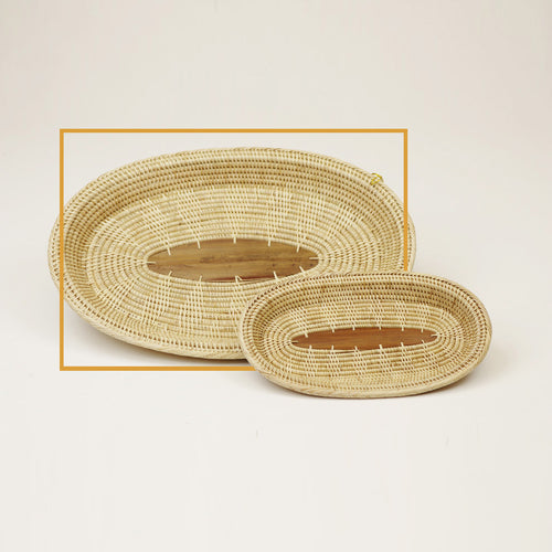 3-3W TRAY Solid Weave w/ Palm Leaf Center - Large