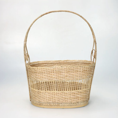 6-25C Custom Bamboo Basket with Handle Partially Closed Design
