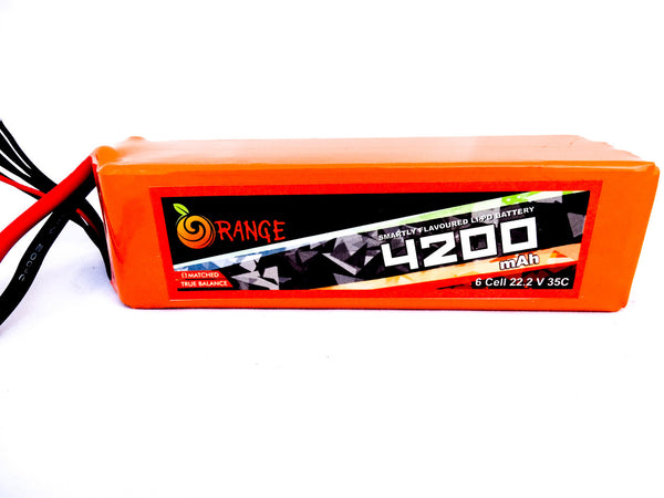 ORANGE 4200MAH 6S 35C/70C LITHIUM POLYMER BATTERY (LIPO) Techtonics