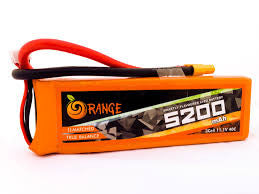 5200MAH 3S 40C/80C ORANGE LITHIUM POLYMER BATTERY (LIPO) Techtonics