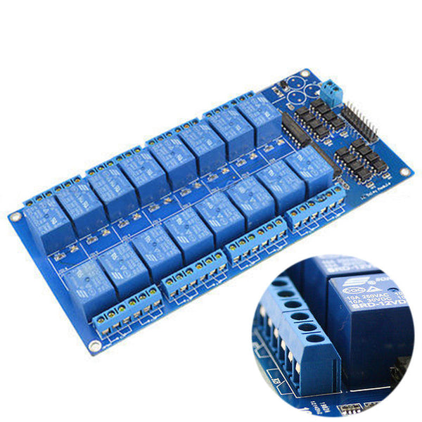 16 Channel 5V Relay Board Module W/ Optocoupler for Arduino PiC ARM AVR