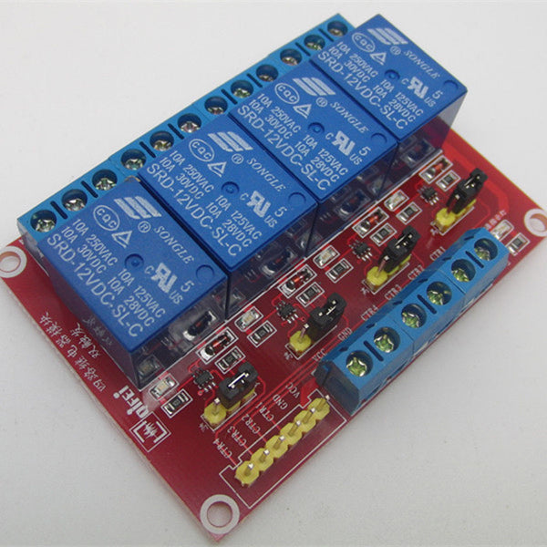 12V 4-Channel Relay Board Optocoupler Module for Arduino Raspberry Pi ARM - Techtonics