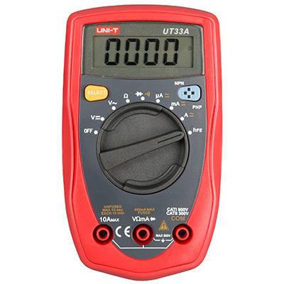 UNI-T UT33A Palm Size Digital Mini Auto Range Multimeter Diode Transistor AC DC Current Voltage Test - Techtonics